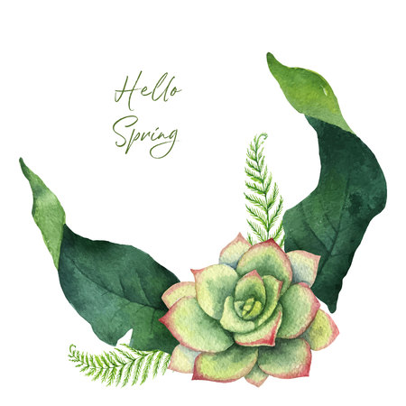 Watercolor vector green card tropical leaves and flowers isolated on white background. Illustration for design wedding invitations, greeting cards, postcards.
