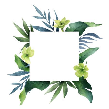 Feuilles tropicales de vecteur aquarelle carte verte et fleurs isolés sur fond blanc. Illustration pour la conception d'invitations de mariage, de cartes de voeux, de cartes postales.