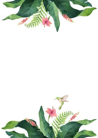 Feuilles tropicales de carte vectorielle aquarelle, colibri et fleurs isolés sur fond blanc. Illustration pour la conception d'invitations de mariage, de cartes de voeux, de cartes postales.