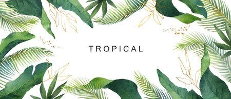 Foglie tropicali della bandiera dell'acquerello isolate su white