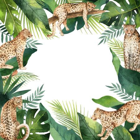 Feuilles tropicales de bannière de vecteur aquarelle et léopards isolés sur blanc