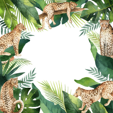 Watercolor vector banner tropical leaves and leopards isolated on white