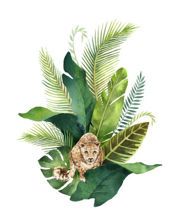 Watercolor card tropical leaves and leopard isolated on white