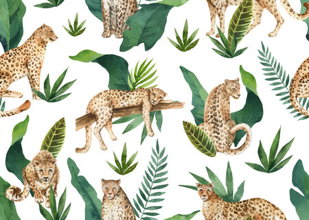 Watercolor vector seamless pattern of tropical leaves and leopards in jungle isolated on white background. Illustration for design textile, wrapping paper, postcards. Trendy style.