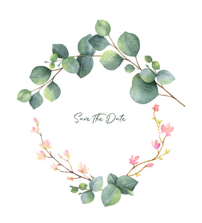 Watercolor vector wreath with green eucalyptus leaves, flowers and branches. Spring or summer flowers for invitation, wedding celebration or greeting cards.