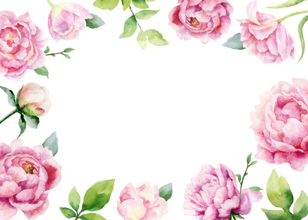 Watercolor vector hand painting card of peony flowers and green leaves. Spring or summer flowers for invitation, wedding celebration or greeting cards.