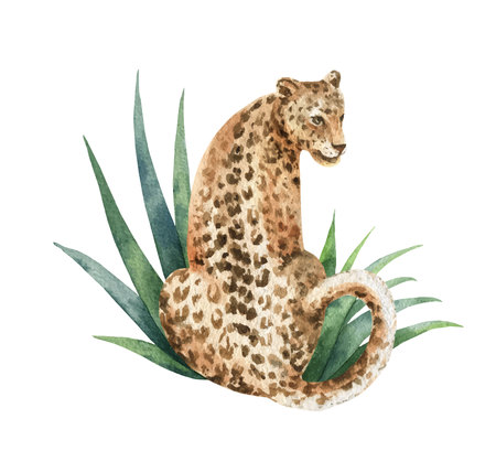 Watercolor  card with leopard and green tropical leaves isolated on white Illustration