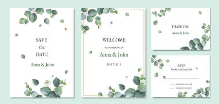 Akwarela wektor zestaw projekt szablonu karty zaproszenie na ślub z zielonych liści eukaliptusa. Ilustracja do kart, zapisz datę, pozdrowienie projekt, kwiatowy zaprosić.