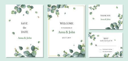 Watercolor vector set wedding invitation card template design with green eucalyptus leaves. Illustration for cards, save the date, greeting design, floral invite.