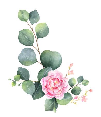 Corona di vettore dell'acquerello con foglie di eucalipto verde, fiori di peonia e rami. Fiori primaverili o estivi per inviti, feste di matrimonio o biglietti di auguri. Vettoriali