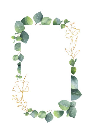 Aquarellvektorrahmen mit grünen Eukalyptusblättern und Goldelementen lokalisiert auf weißem Hintergrund. Frühlings- oder Sommerblumen zur Einladung, zarte Designs für Hochzeiten, Grußkarten.