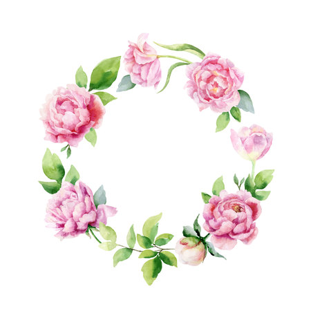 Watercolor vector hand painting wreath of peony flowers and green leaves. Spring or summer flowers for invitation, wedding celebration or greeting cards.