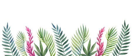 Watercolor vector banner tropical leaves and flowers isolated on white background. Illustration for design wedding invitations, greeting cards, postcards. Ilustração