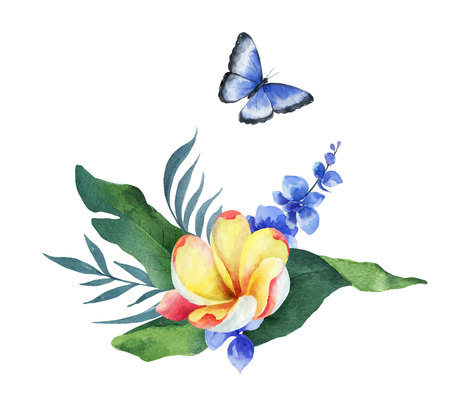 Watercolor vector composition tropical leaves, flowers and butterfly isolated on white background. Illustration for design wedding invitations, greeting cards, postcards.