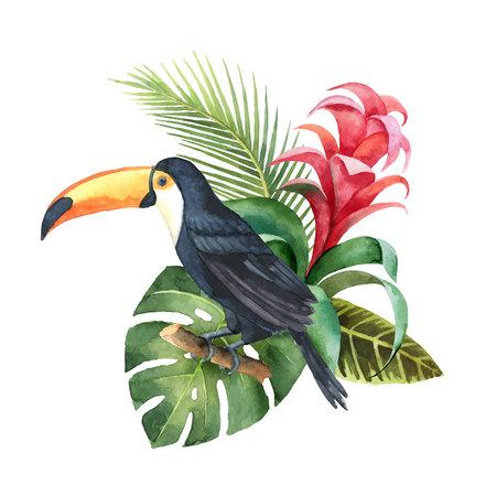 Composizione di vettore dell'acquerello con Tucano, foglie esotiche e fiori isolati su priorità bassa bianca. Illustrazione per inviti di nozze di design, biglietti di auguri, cartoline.