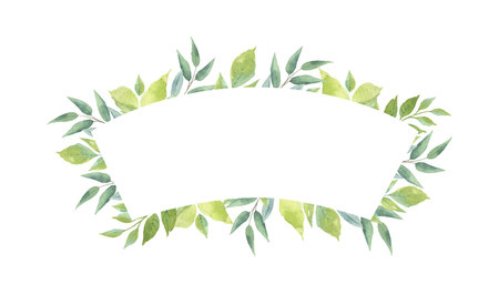 Watercolor vector banner with green branches and leaves isolated on white background. Illustration for design wedding invitations, greeting cards, postcards. Ilustração