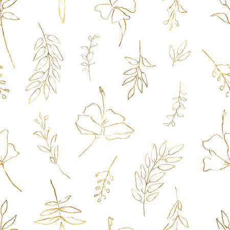 Watercolor vector seamless pattern with golden branches and flowers isolated on white background. Illustration for design wedding invitations, greeting cards, textile, packaging. Ilustração