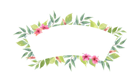 Watercolor vector banner with green branches and flowers isolated on white background. Illustration for design wedding invitations, greeting cards, postcards. Ilustração