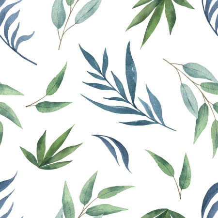 Watercolor vector seamless pattern with green branches and leaves isolated on white background. Illustration for design wedding invitations, greeting cards, textile, packaging.