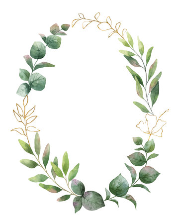 Watercolor  wreath with green eucalyptus leaves and flower