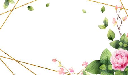 Invito di pittura a mano di vettore dell'acquerello di cornice geometrica dorata, fiori di peonia e foglie di menta verde. Fiori primaverili o estivi per cartoline, matrimoni o biglietti di auguri. Vettoriali
