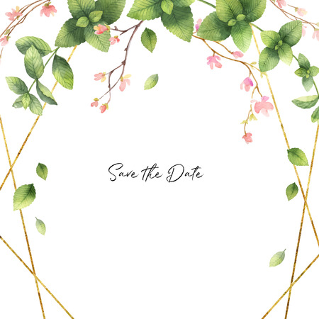 Watercolor vector hand painting invitation of gold geometric frame, flowers and green mint leaves. Spring or summer flowers for postcard, wedding or greeting cards.
