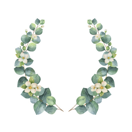 Watercolor vector wreath with silver dollar eucalyptus leaves and flowers. illustration for cards, wedding invitation,save the date or greeting design. Summer flowers with space for your text.