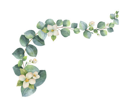 Watercolor  wreath with green eucalyptus leaves and and flowers. Ilustração