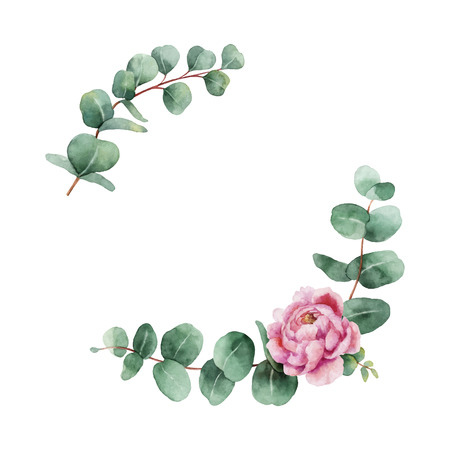 Watercolor  wreath with green eucalyptus leaves, peony flowers and branches.
