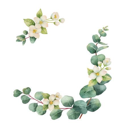 Akwarela wektor wieniec z liści eukaliptusa srebrny dolar i kwiatów. ilustracja na karty, zaproszenia ślubne, zapisz datę lub projekt powitania. Letnie kwiaty z miejscem na Twój tekst. Ilustracje wektorowe