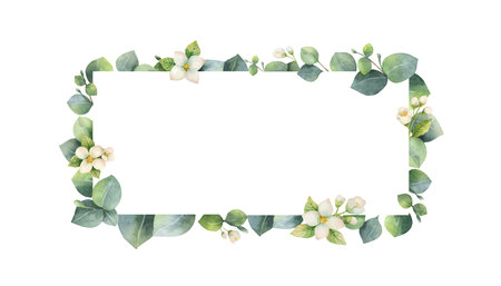 Watercolor vector frame with green eucalyptus leaves, Jasmine flowers and branches. Spring or summer flowers for invitation, wedding or greeting cards. Vektorgrafik