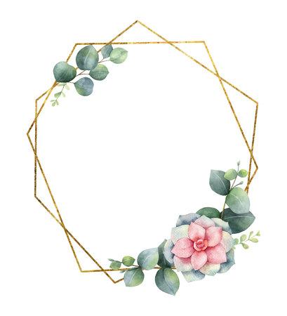 Watercolor composition from the branches of eucalyptus, flowers of succulents and gold geometric frame. Spring or summer flowers for invitation, wedding or greeting cards.
