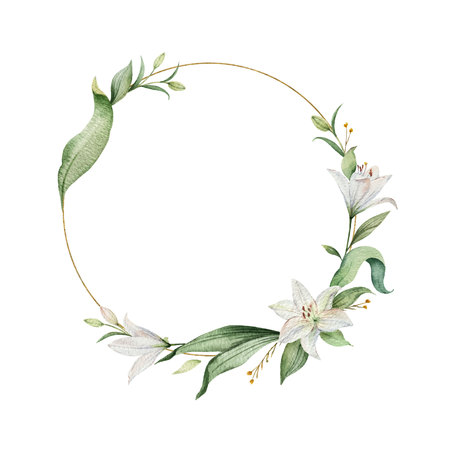 Guirnalda de vector acuarela de flores de lirio y hojas verdes. Ilustración para tarjetas, invitación de boda, guardar la fecha o el diseño de saludo. Flores de verano con espacio para su texto.