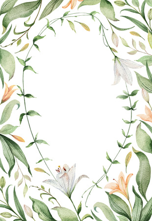 Watercolor vector card of Lily flowers and green leaves. illustration for cards, wedding invitation,save the date or greeting design. Summer flowers with space for your text.