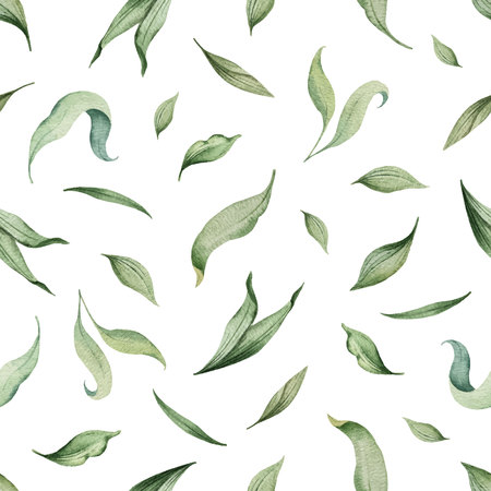 Watercolor vector seamless pattern of green leaves isolated on white background. illustration for cards, wedding invitation,save the date or greeting design. Ilustração