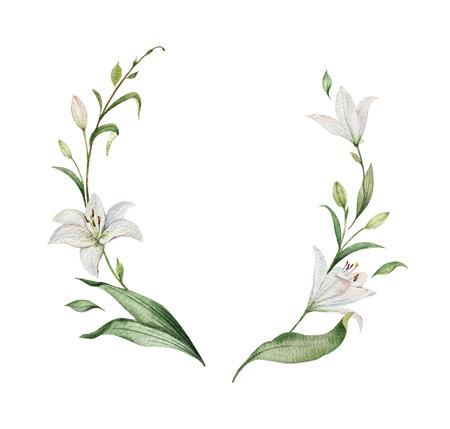 Corona di vettore dell'acquerello di fiori di giglio e foglie verdi. illustrazione per carte, invito a nozze, salva la data o design di auguri. Fiori estivi con spazio per il testo.