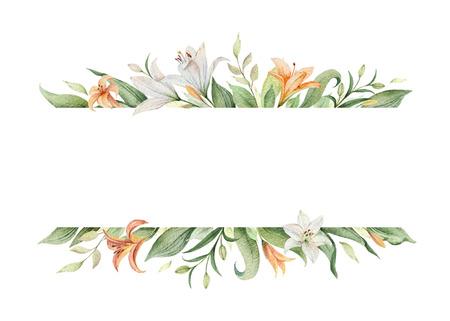 Bandera de vector acuarela de flores de lirio naranja y hojas verdes. Ilustración para tarjetas, invitación de boda, guardar la fecha o el diseño de saludo. Flores de verano con espacio para su texto.