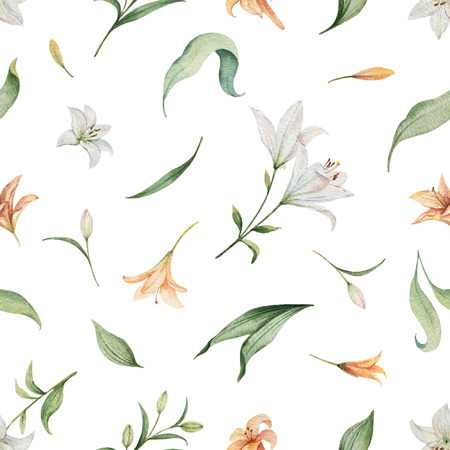 Watercolor vector seamless pattern of Lily flowers and green leaves. illustration for cards, wedding invitation,save the date or greeting design.
