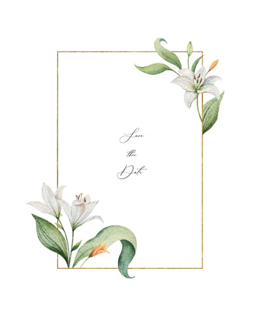 Watercolor vector wreath of Lily flowers and green leaves. illustration for cards, wedding invitation,save the date or greeting design. Summer flowers with space for your text.