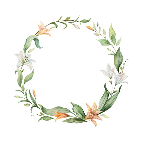 Watercolor  wreath of orange Lily flowers and green leaves.