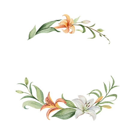 Watercolor vector wreath of orange Lily flowers and green leaves. illustration for cards, wedding invitation,save the date or greeting design. Summer flowers with space for your text.