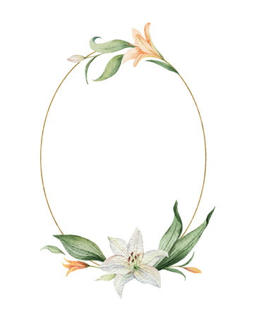 Aquarel vector krans van oranje lelie bloemen en groene bladeren. illustratie voor kaarten, huwelijksuitnodiging, bewaar deze datum of groetontwerp. Zomerbloemen met ruimte voor uw tekst. Vector Illustratie