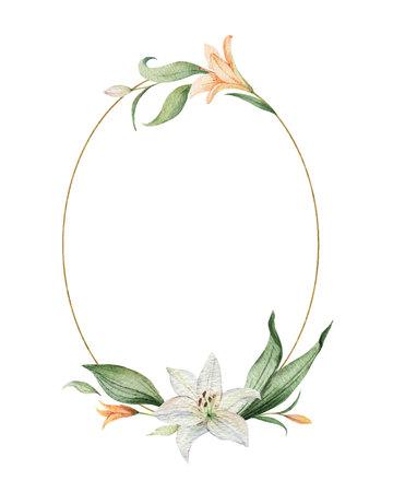 Guirnalda de vector acuarela de flores de lirio naranja y hojas verdes. Ilustración para tarjetas, invitación de boda, guardar la fecha o el diseño de saludo. Flores de verano con espacio para su texto. Ilustración de vector