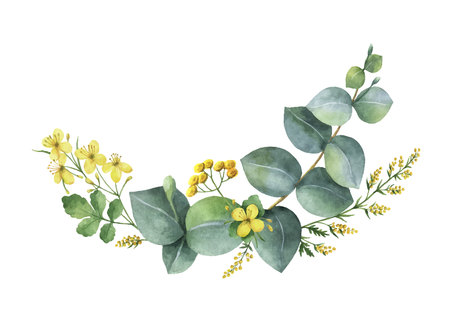 Watercolor vector wreath with green eucalyptus leaves and meadow plants. Healing Herbs for cards, wedding invitation, posters, save the date or greeting design isolated on white background.