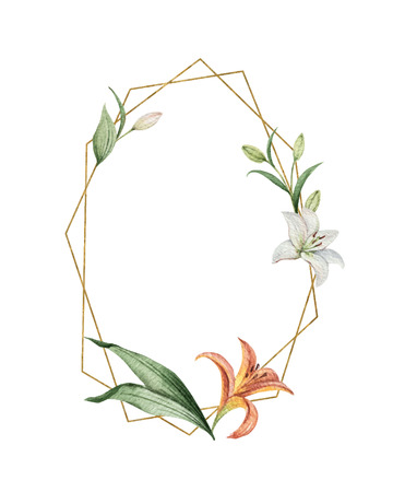 Watercolor vector hand painted wreath of flowers, green leaves and gold geometric frame. Illustration for wedding invitation, save the date or greeting design. 일러스트