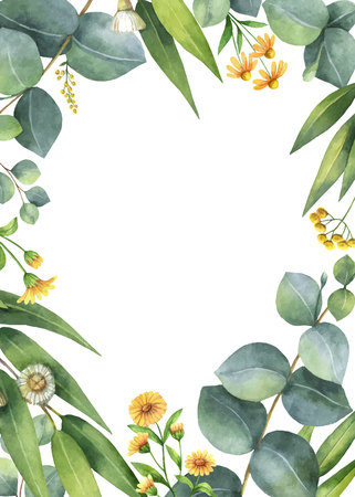 Watercolor vector card with green eucalyptus leaves and meadow plants. Healing Herbs for cards, wedding invitation, posters, save the date or greeting design isolated on white background. Ilustração