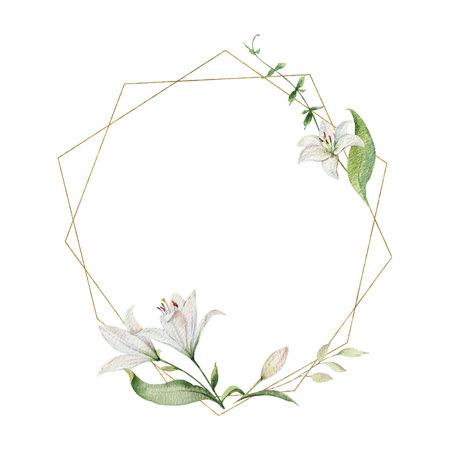 Guirnalda de flores, hojas verdes y marco geométrico dorado pintado a mano de vector acuarela. Ilustración para invitación de boda, guardar la fecha o el diseño de saludo.