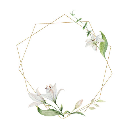 Watercolor vector hand painted wreath of flowers, green leaves and gold geometric frame. Illustration for wedding invitation, save the date or greeting design. Illustration