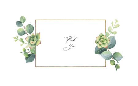 Watercolor vector frame with eucalyptus leaves and succulents. Illustration for wedding invitation, save the date or greeting design. Spring or summer flowers with space for your text. Illustration