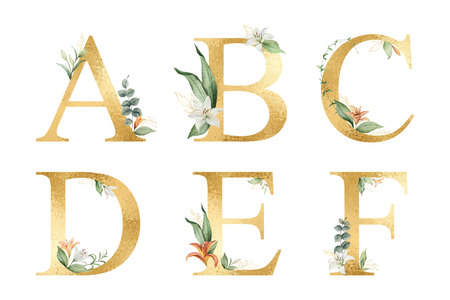 Golden vector glitter alphabet with watercolor flowers. Vectores